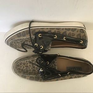 Sperry Animal Print & Black Patent Leather shoes 8